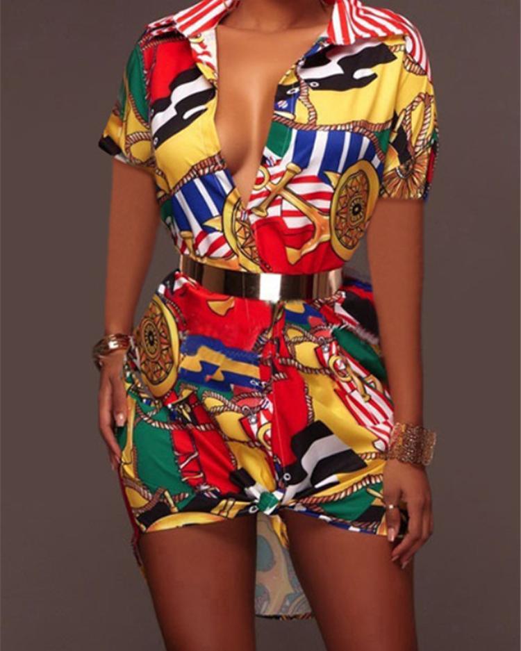 Stylish Retro Print Lapel Collar Casual Dress фото
