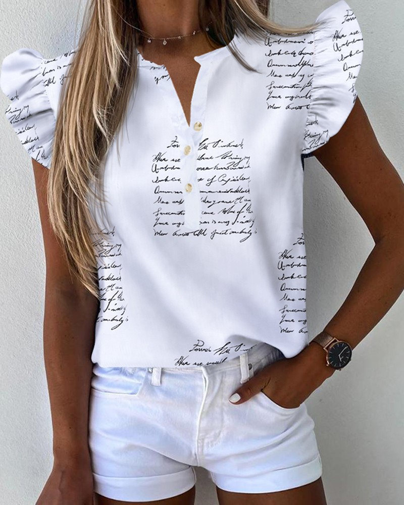 Letter Pineapple Print Ruffles Sleeve Casual Top фото