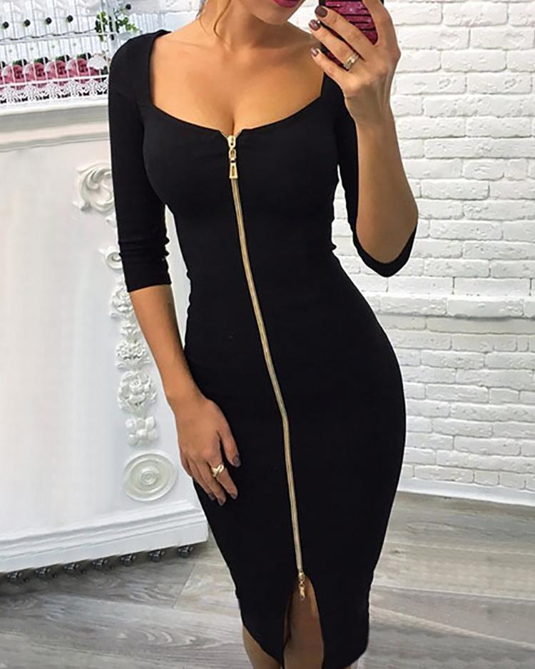 Sexy Zipper Up Split Bodycon Dress фото