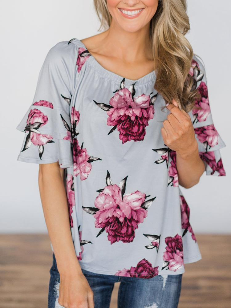 chicme / Fora do ombro Shirring Floral Imprimir Blusa Casual