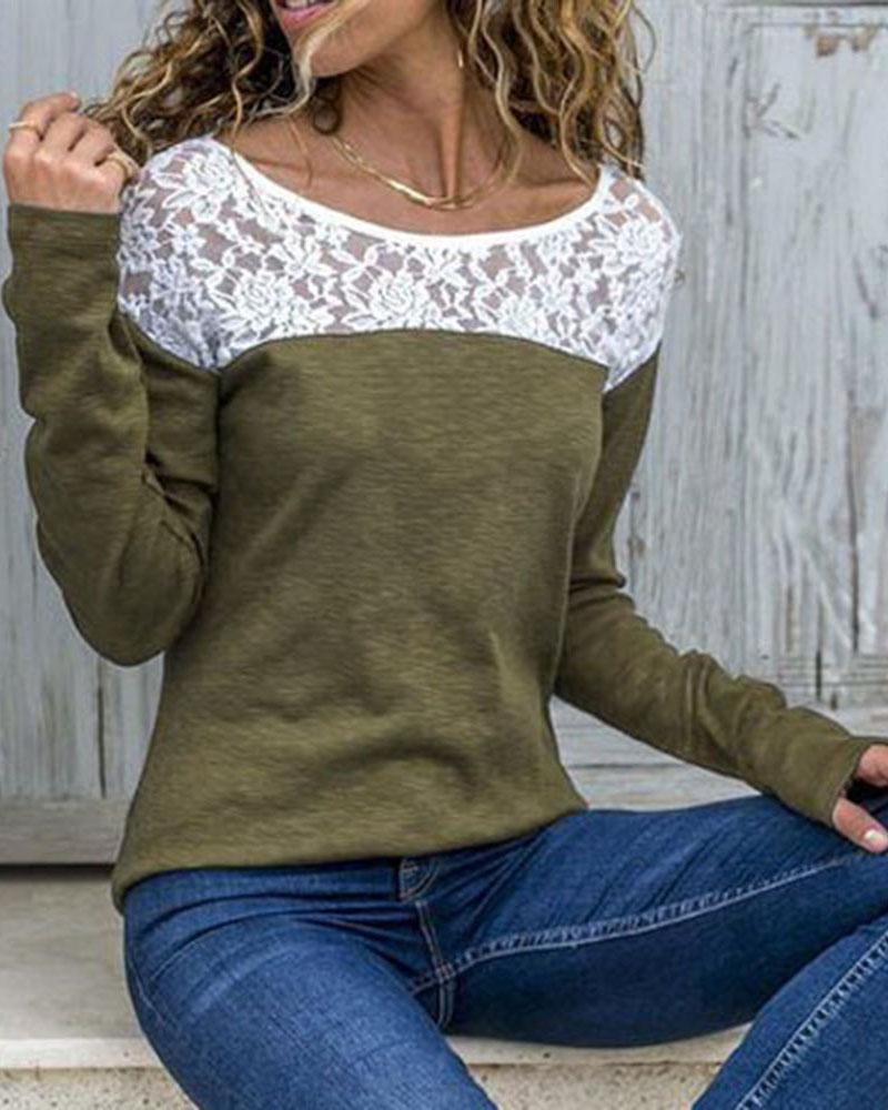 Long Sleeve Lace Yoke Top, Army green