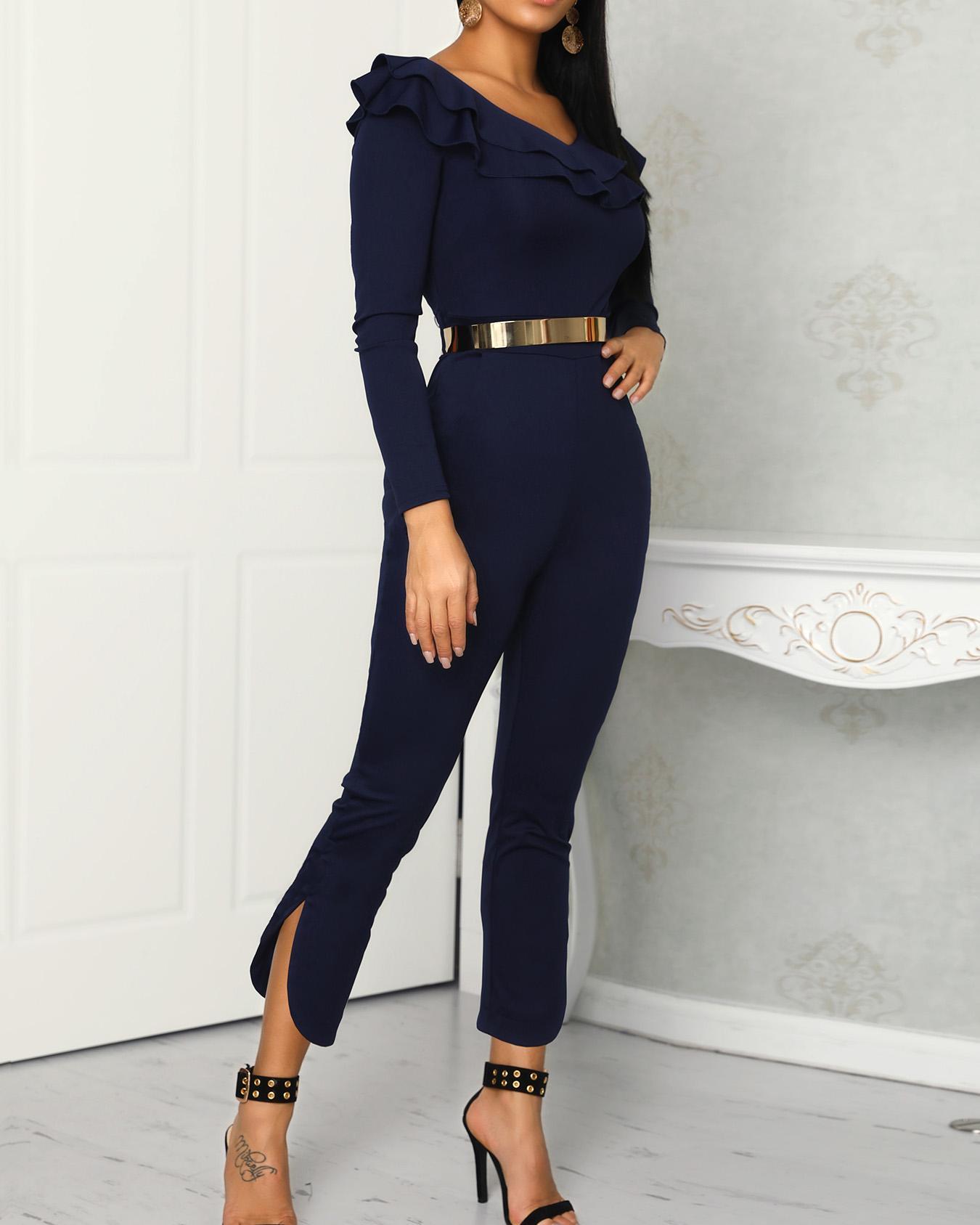 boutiquefeel / Laminado Ruffles Design Slit Hem Petite Jumpsuit