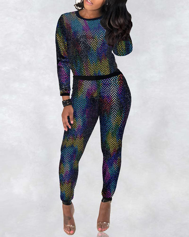 boutiquefeel / Glitter Long Sleeve Slinky Top & Pants Sets