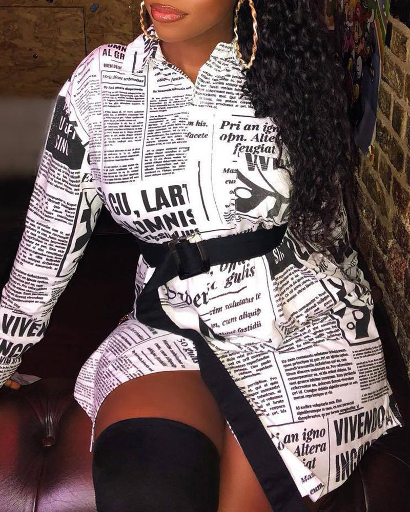 Newspaper Print Long Sleeve Casual Shirt