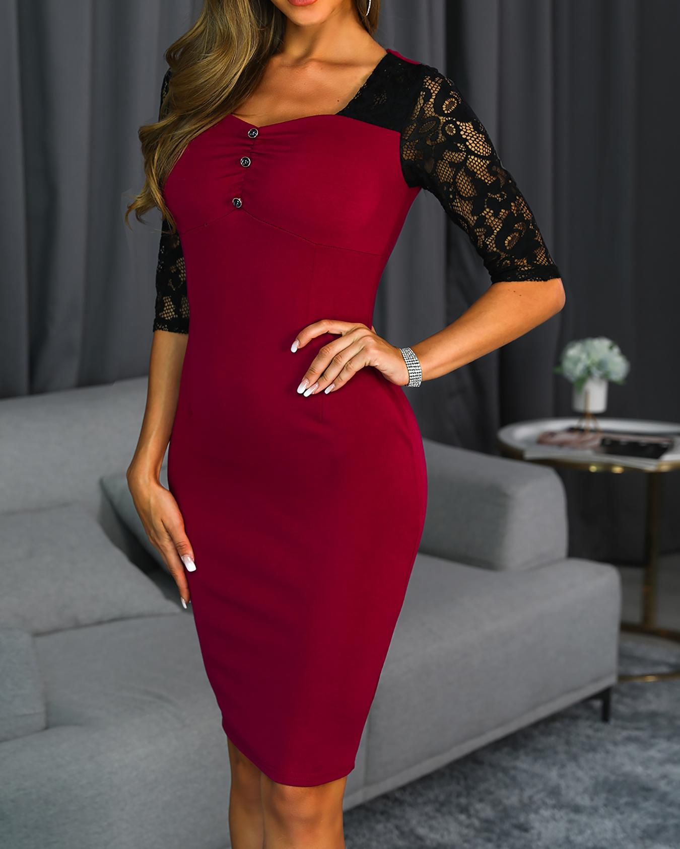 Lace Sleeve Ruched Button Detail Bodycon Dress