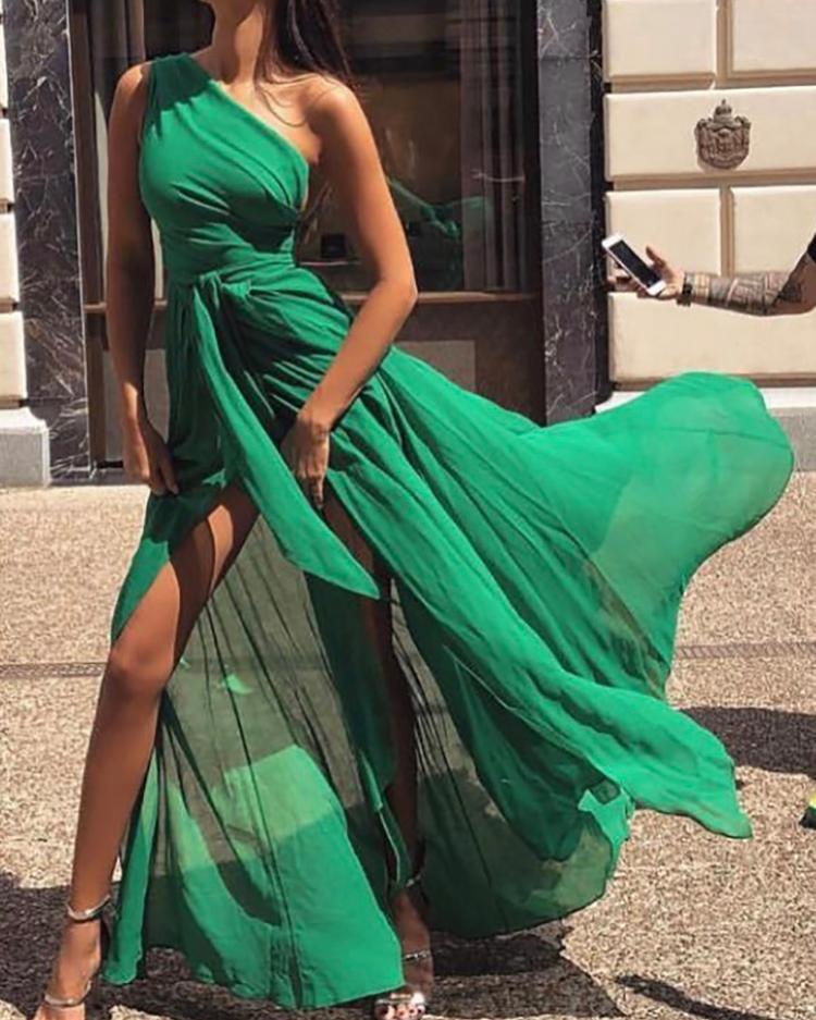 One Shoulder Tie Waist High Slit Maxi Dress фото