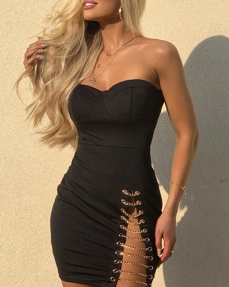 Solid Eyelet Slit Chain Design Dress, Black