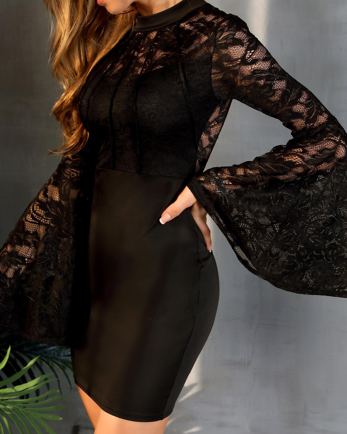 Bell Sleeve Lace Bodice Bodycon Dress фото