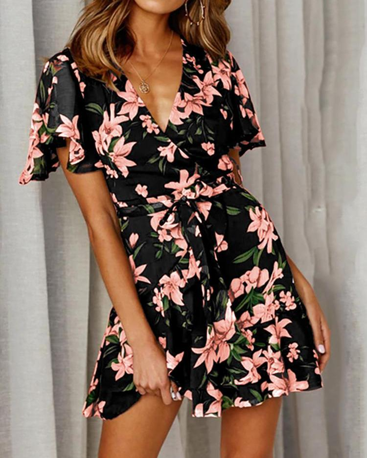 Floral Print Belted Casual Dress фото