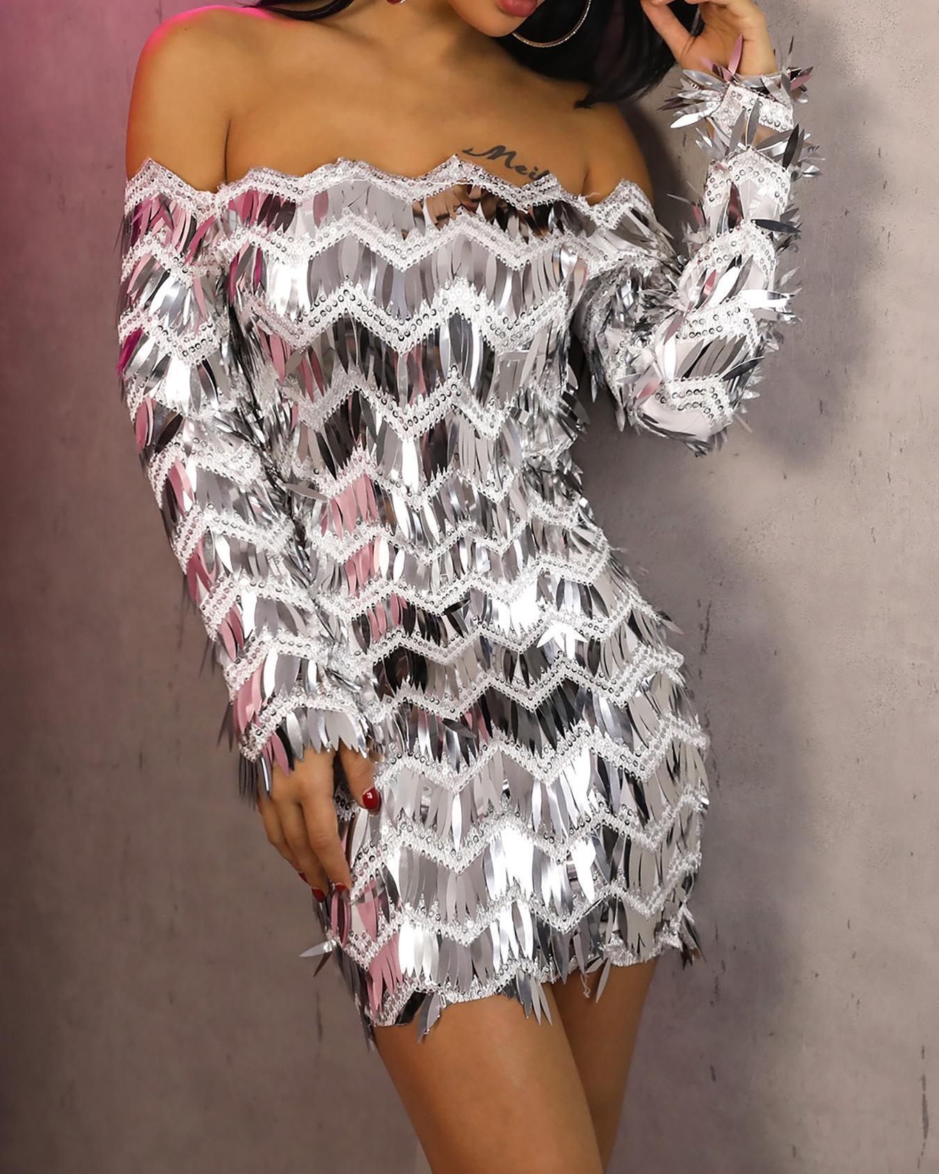 Off Shoulder Long Sleeve Sequin Party Dress