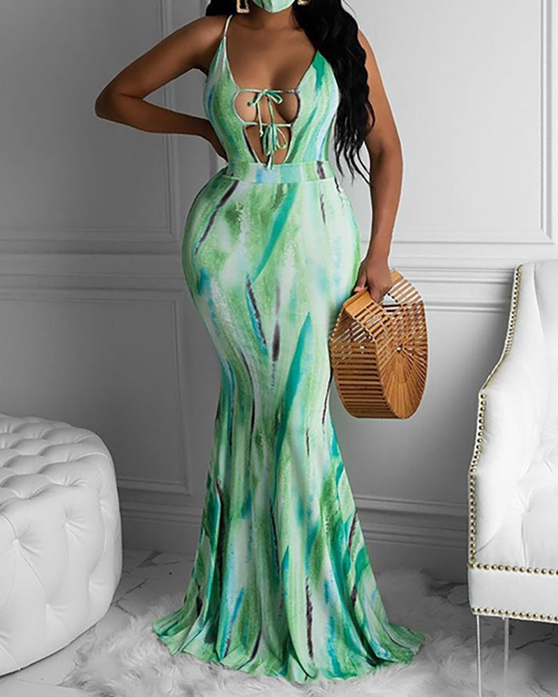 Tie Dye Print Crisscross Backless Maxi Dress фото