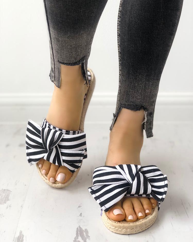 Полосатый Bowknot Украшенные Плоские Туфли
