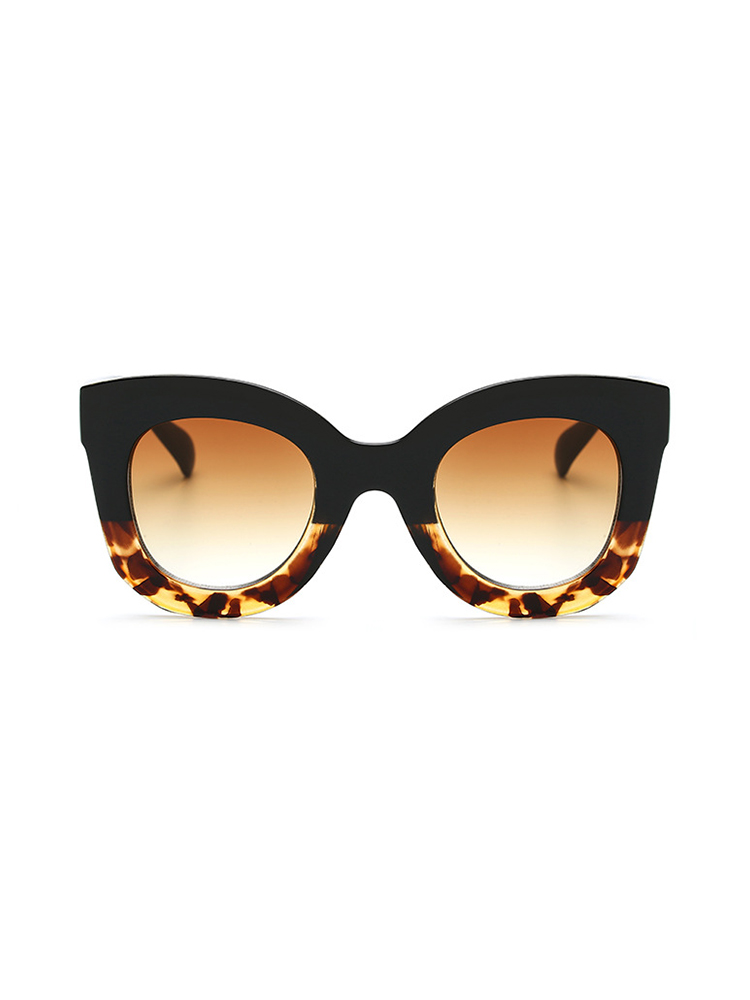 Contrast Frame Cat Eye Sunglasses - Leopard