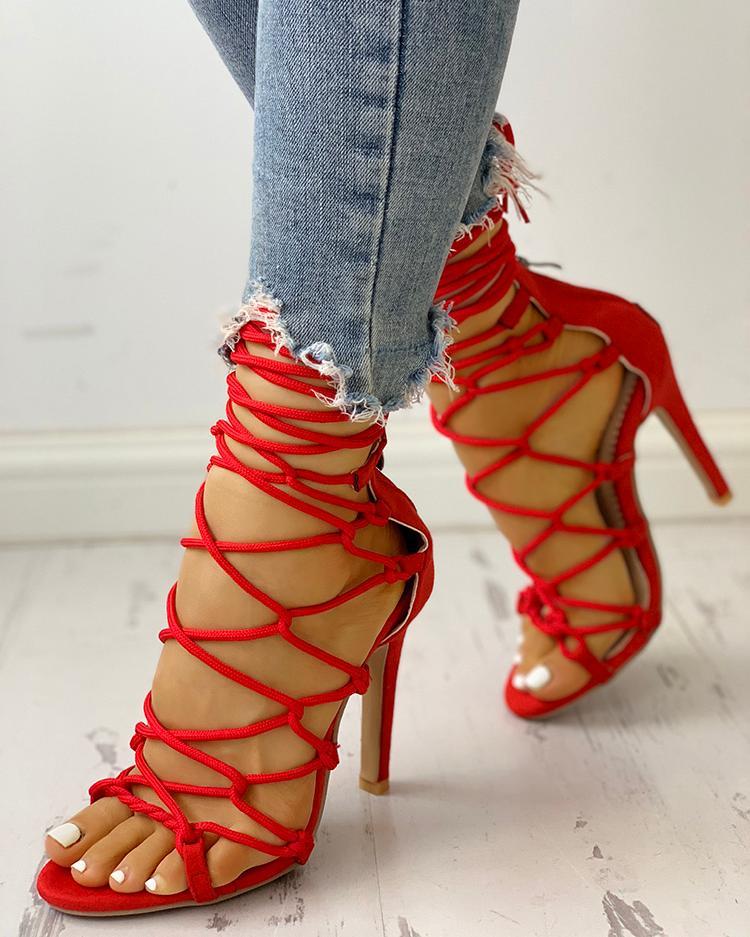 Купить со скидкой Hollow Out Lace Up Thin Heels Sandals