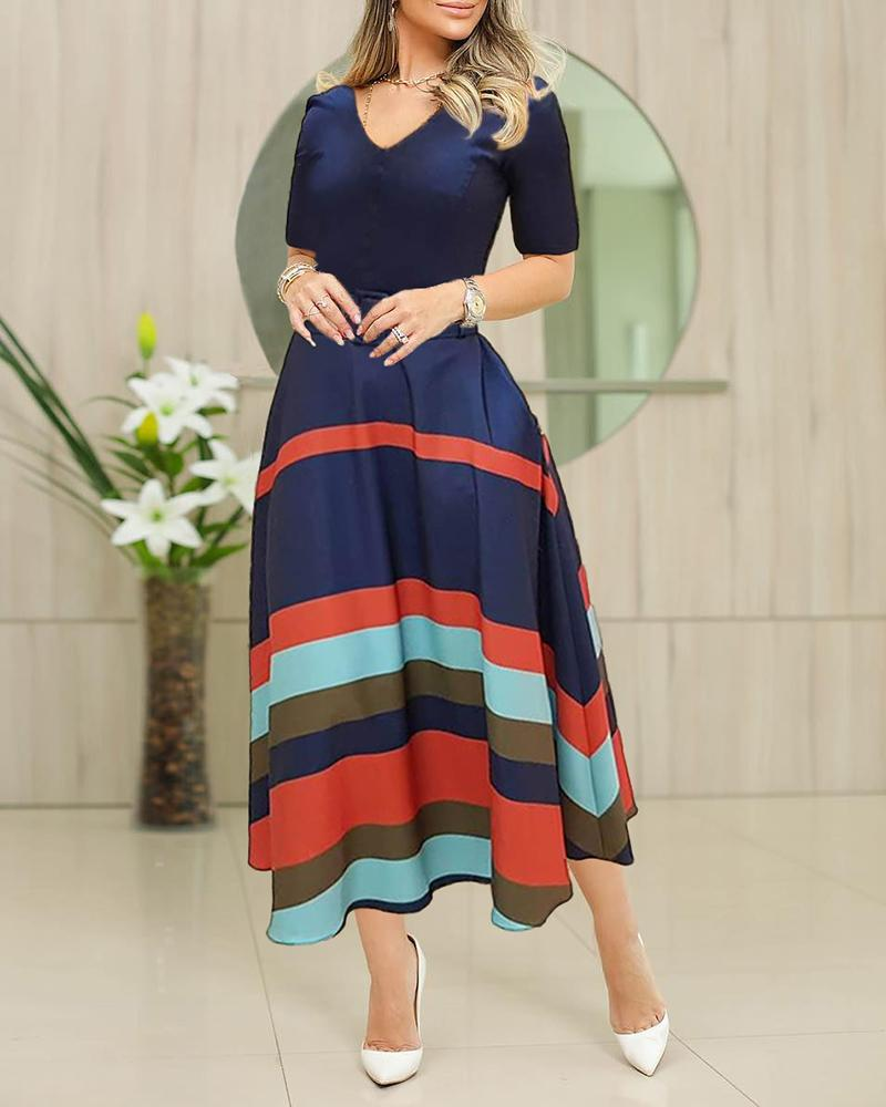 Colorful Striped Short Sleeve V-Neck Dress, Dark blue