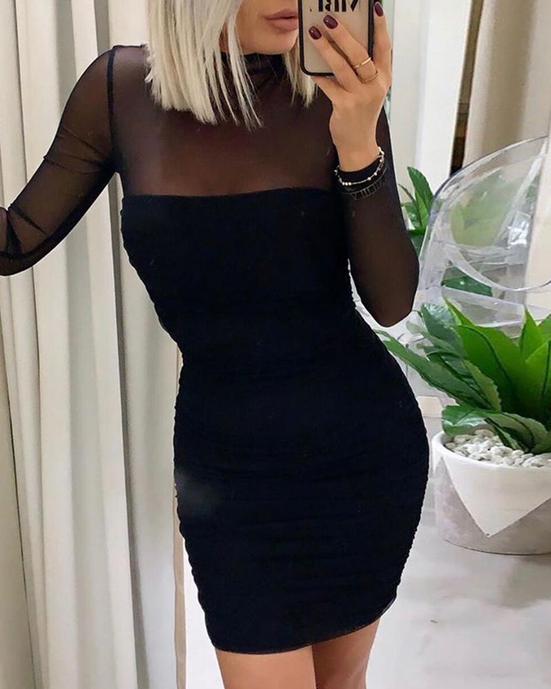 boutiquefeel / Malha de retalhos sólida ver através vestido Bodycon