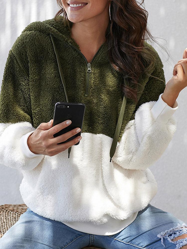 Contrast Color Splicing Hooded Sweatshirt