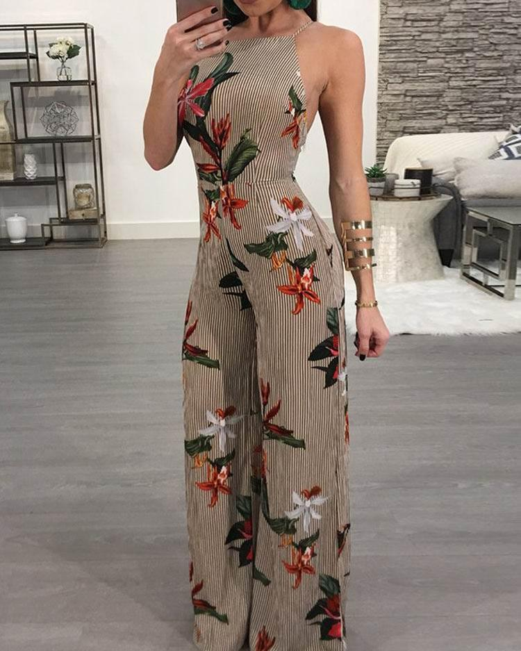 Floral Printed Halter Open Back Casual Wide Leg Jumpsuit фото