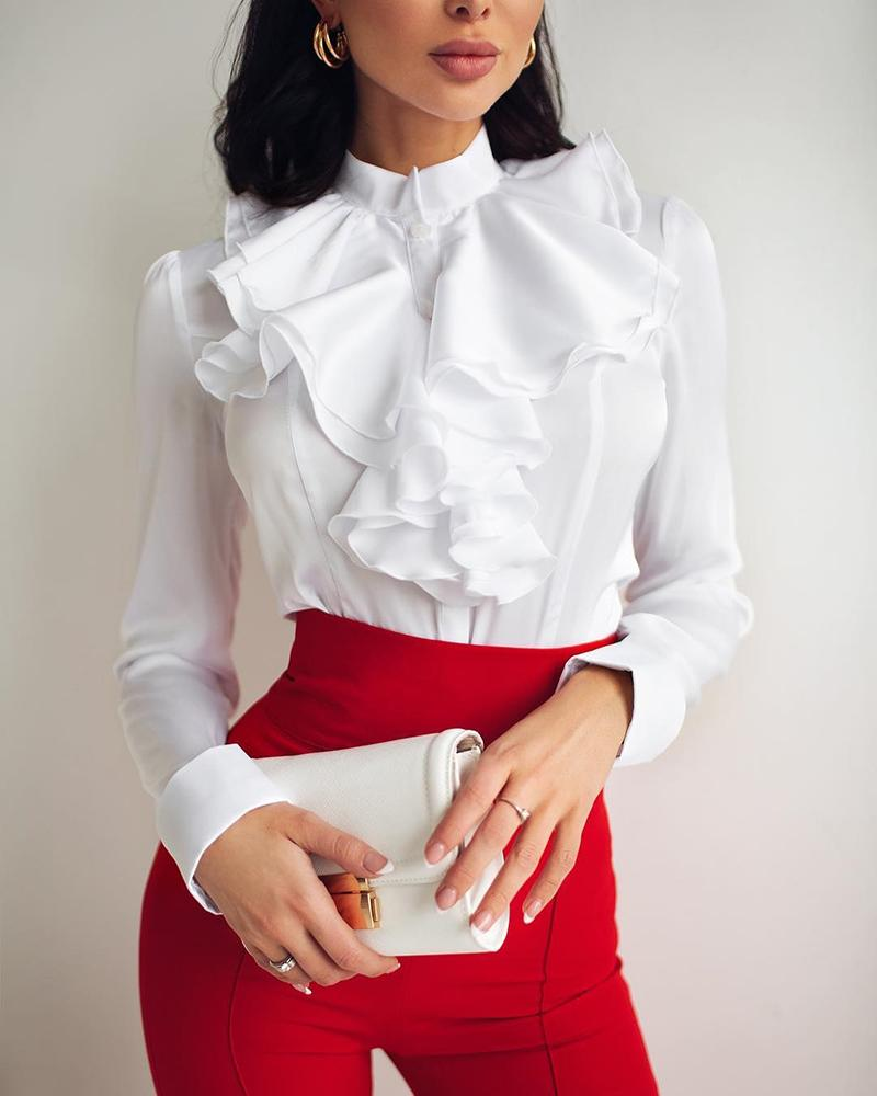Long Sleeve Ruched Ruffles Casual Blouse
