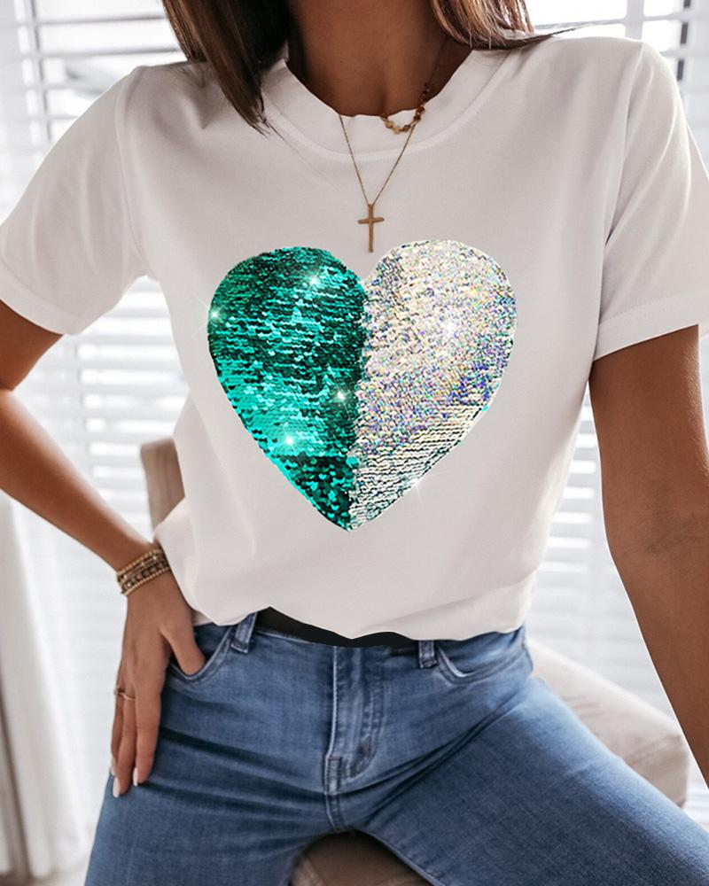 Heart Pattern Sequins Casual T-shirt фото