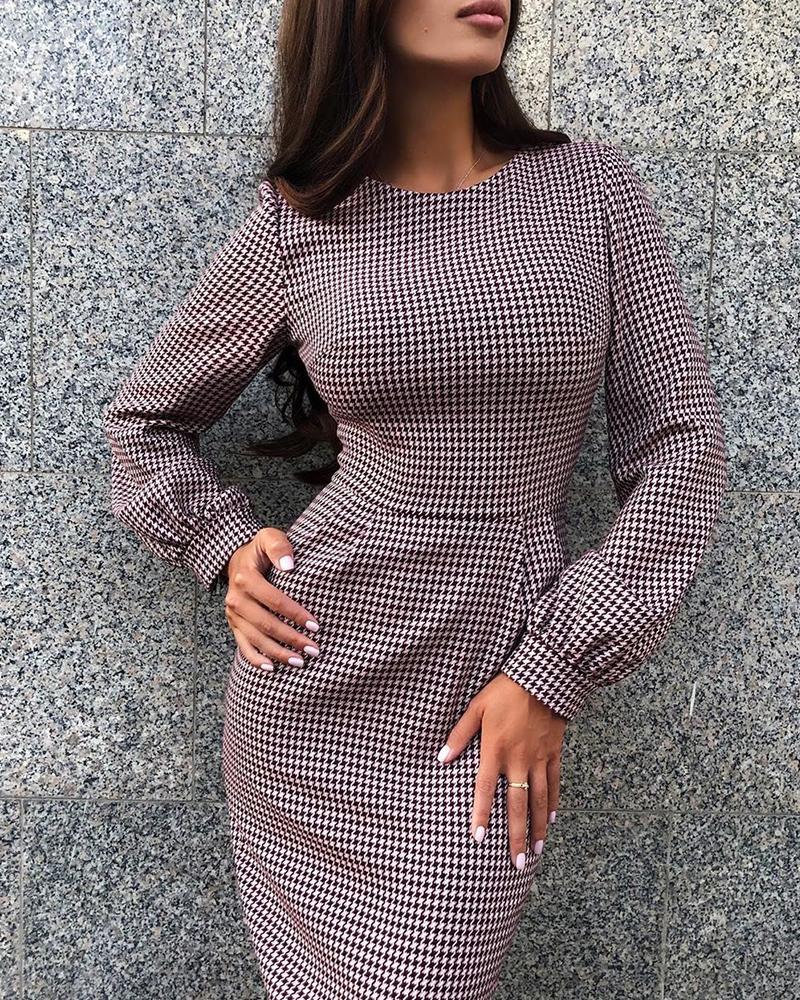 Grid Long Sleeve Bodycon Dress фото