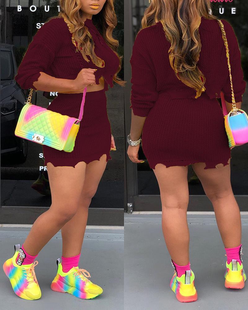 ivrose / Conjunto de saia e blusa de malha irregular