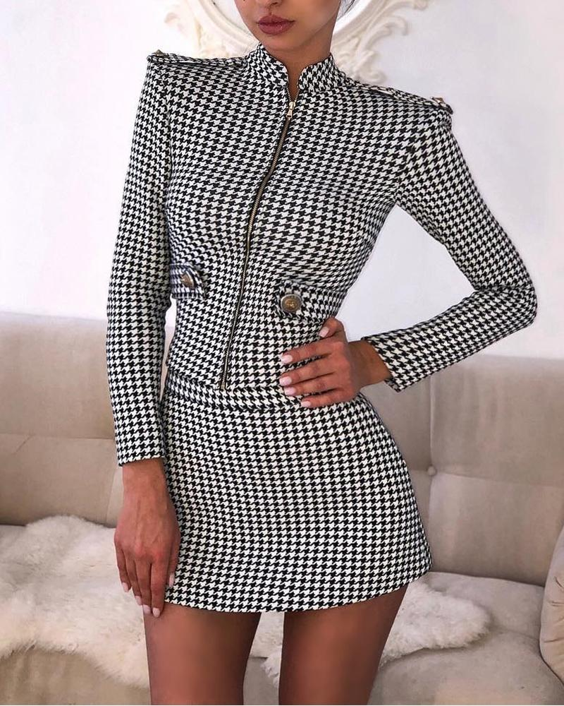 chicme / Houndstooth Print Two-Piece Dress