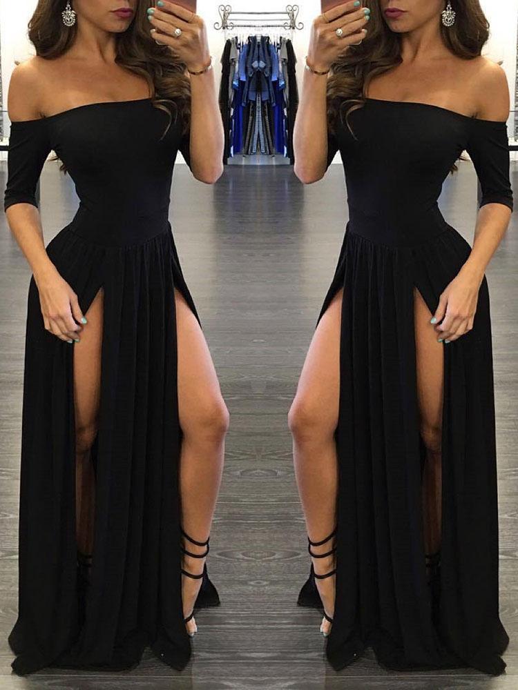 Sexy Fashion Half Sleeve Off-shoulder High Slit Casual Maxi Dress