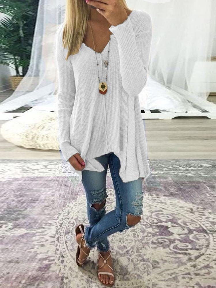 Plus Size V Neck Rib Sweater - White
