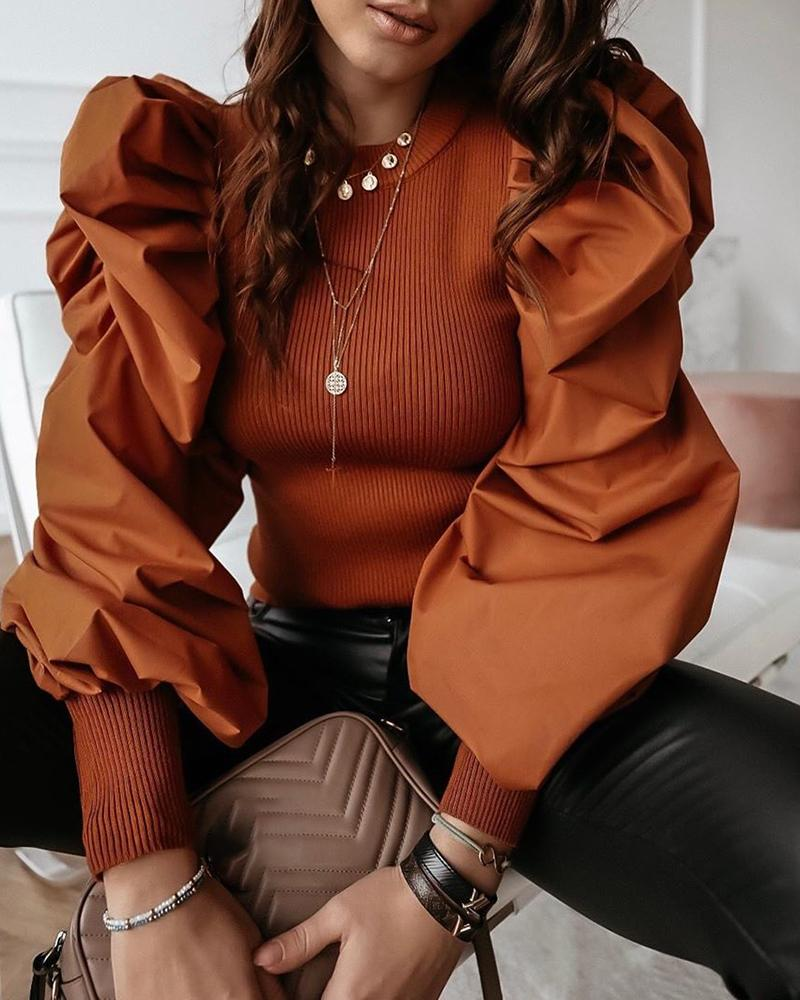 Round Neck Puff Sleeve Insert Ribbed Blouse фото
