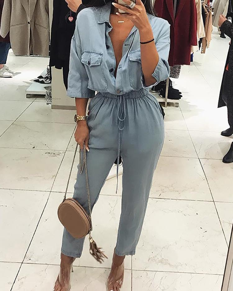 chicme / Pocket Design Drawstring Denim Jumpsuit
