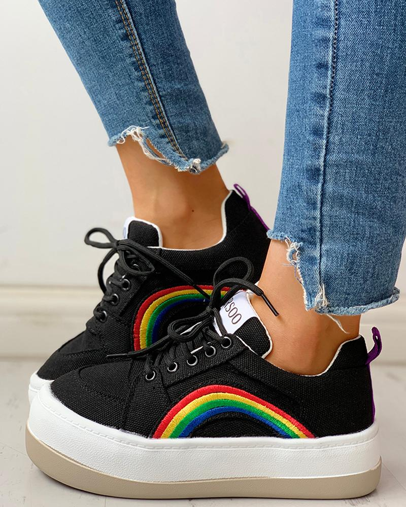 ivrose / Zapatillas de ojal con cordones y ojales con estampado de arcoíris