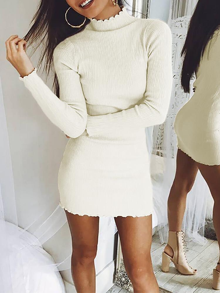 Sexy Long Sleeve Rib Bodycon Mini Dress