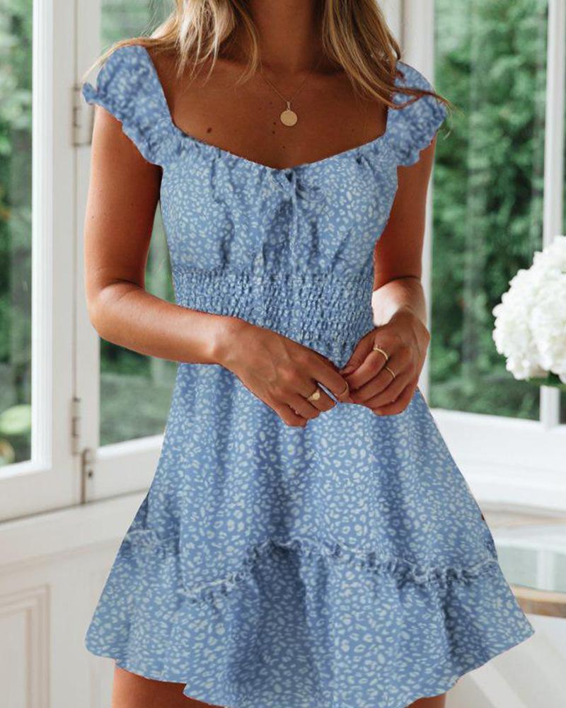 Floral U Neck Ruffle Casual Dress фото