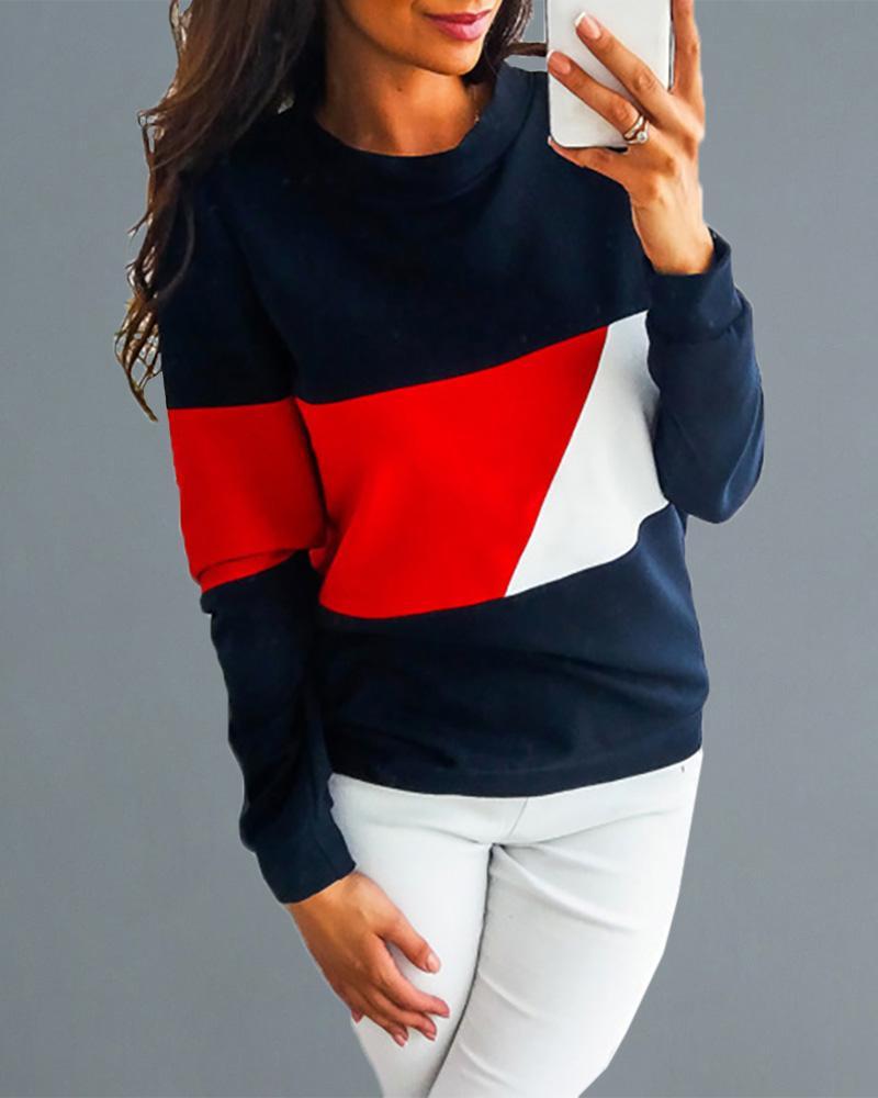 Round Neck Colorblock Insert Casual Sweatshirt фото