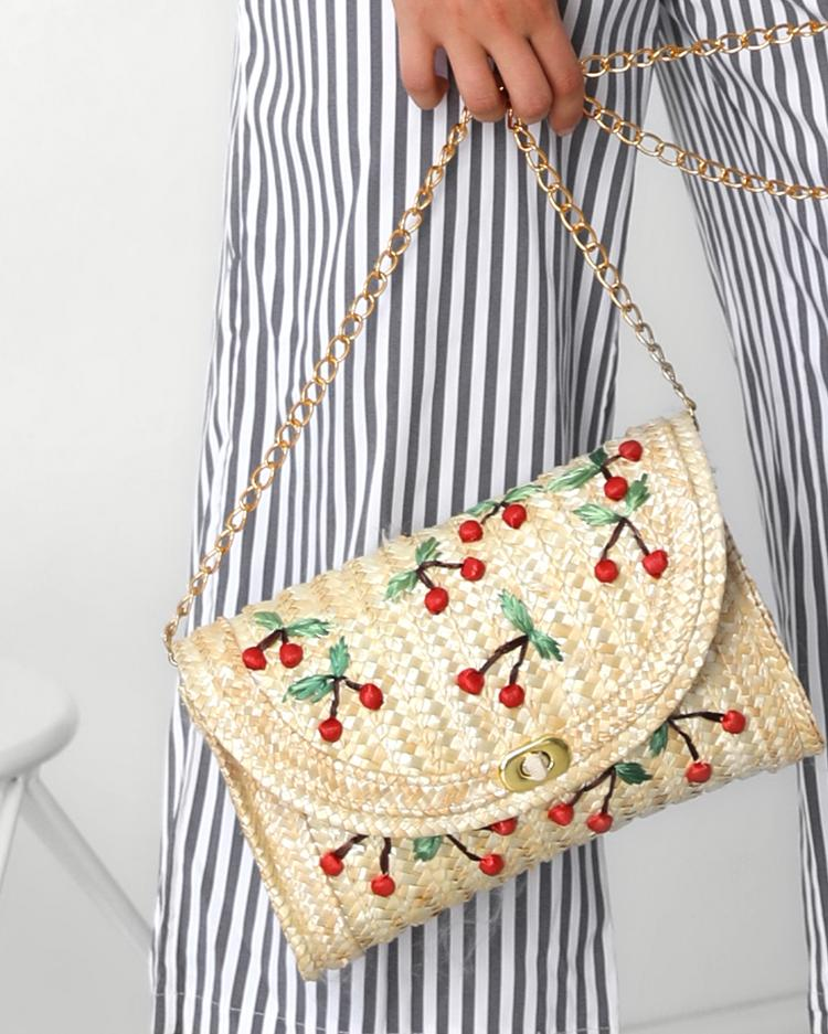 Cherry Pattern Straw Shoulder Bag