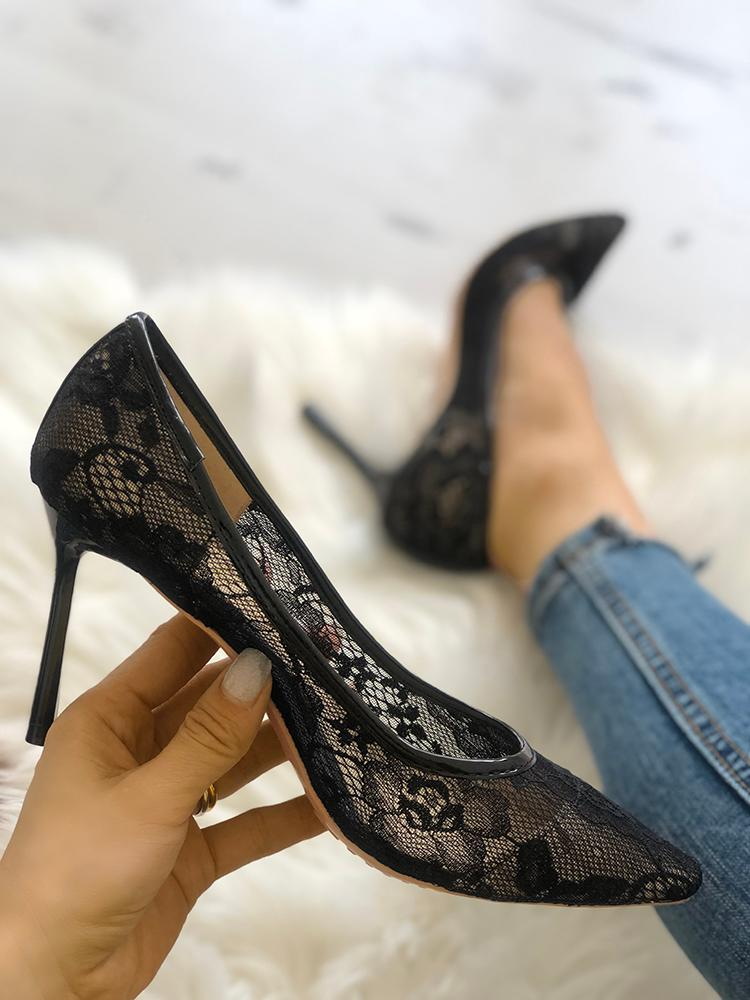 Women Lace Pointed Toe Stiletto Heels