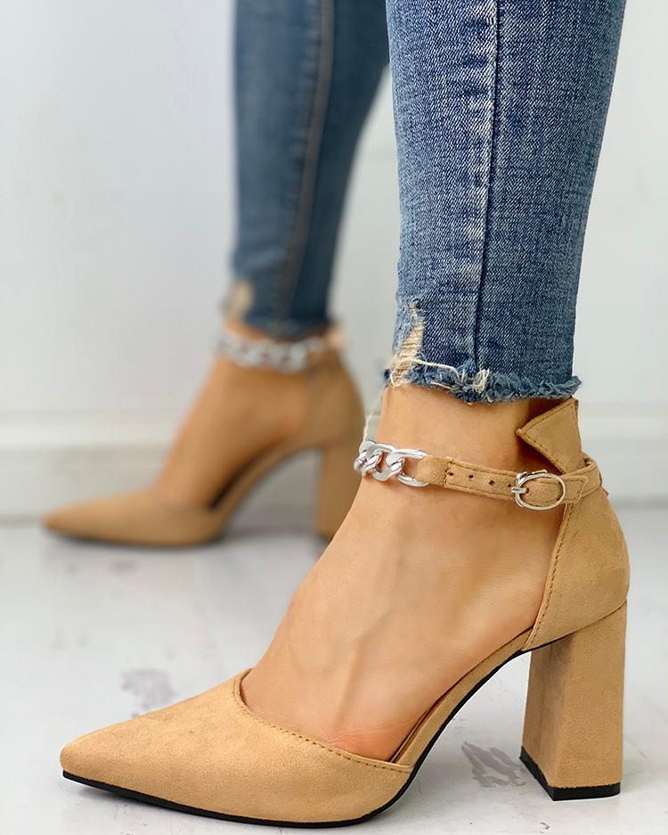Suede Pointed Toe Chain Buckled Chunky Heels