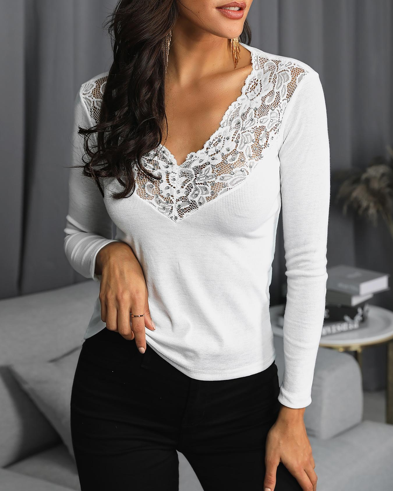 Lace Yoke Long Sleeve Fitted Top