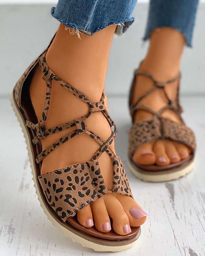 joyshoetique / Suede Open Toe Cheetah Pattern Cutout Flat Sandals