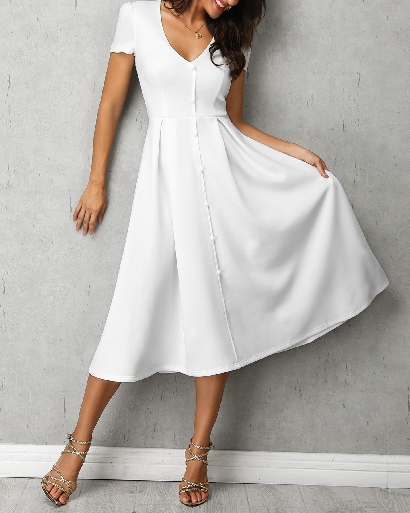 Puffed Sleeve Button Through Pleated Dress