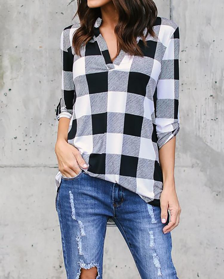 Checkered V Neck Roll Sleeve Casual Blouse - White фото
