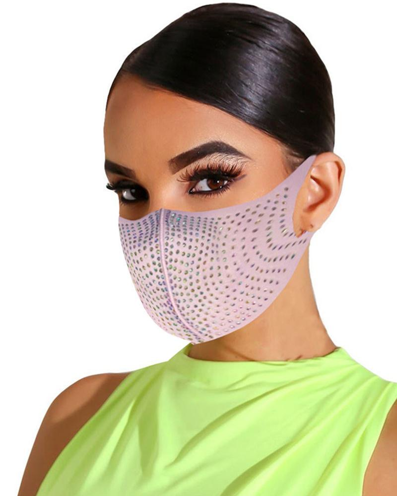 Bling Rhinestone Animal Pattern Face Mask фото