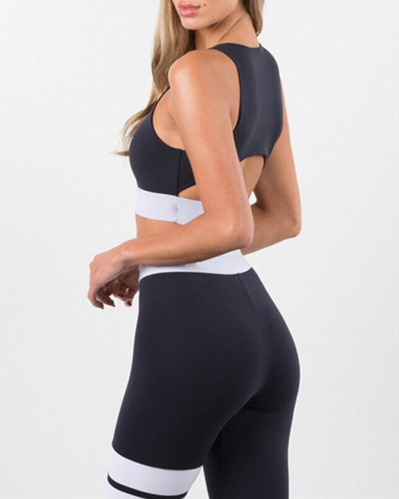 Contrast Detail Two-Piece Sports Set фото