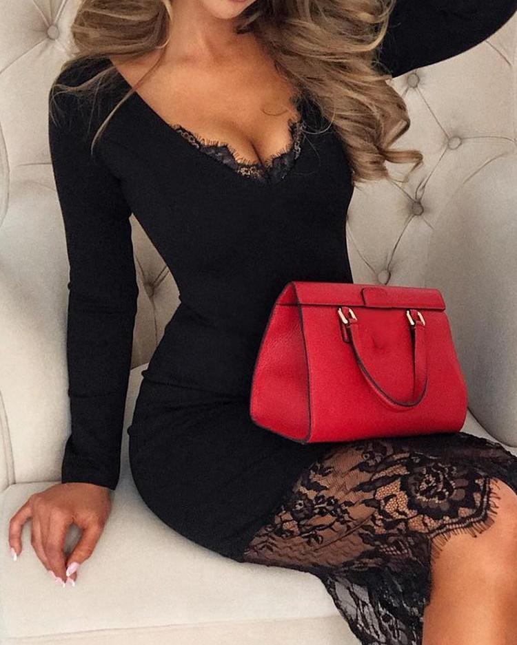 boutiquefeel / Vestido de manga larga de empalme de encaje de pestañas