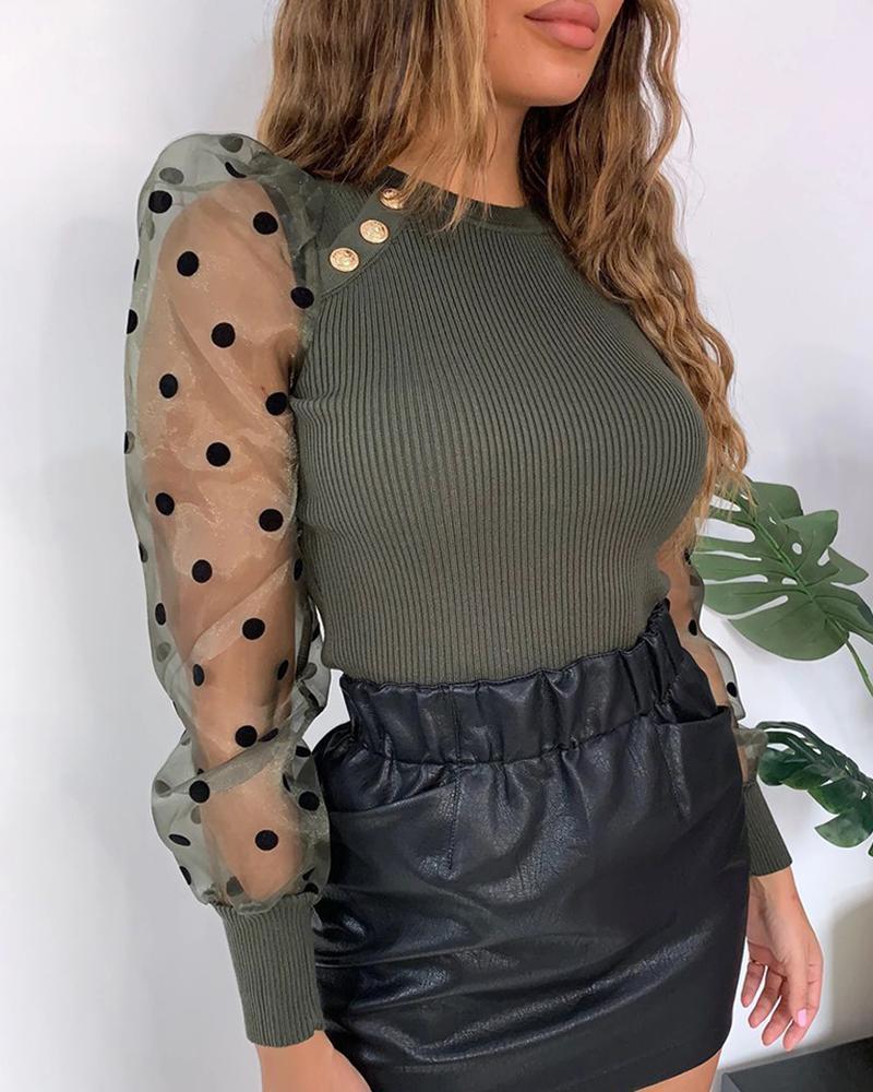 Dot Sheer Mesh Puffed Sleeve Blouse фото