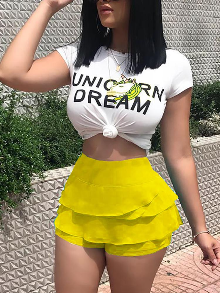 chicme / Short Sleeve Crop Tee With Ruffle Shorts Sets