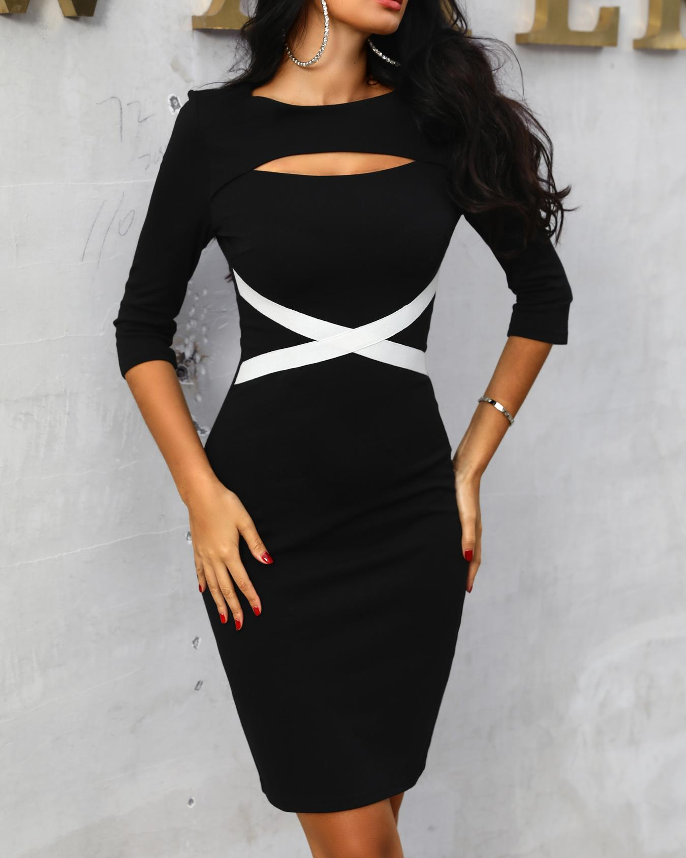 Contrast Crisscross Bandage Cutout Bodycon Dress