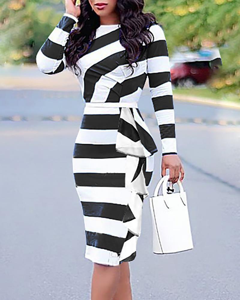 ivrose / Colorblock Striped Ruffles Detalhe Vestido Bodycon