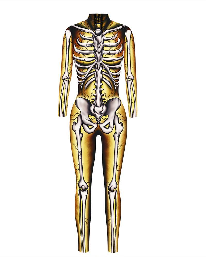 Skull Skeleton Print Zip Back Halloween Costume Jumpsuit фото